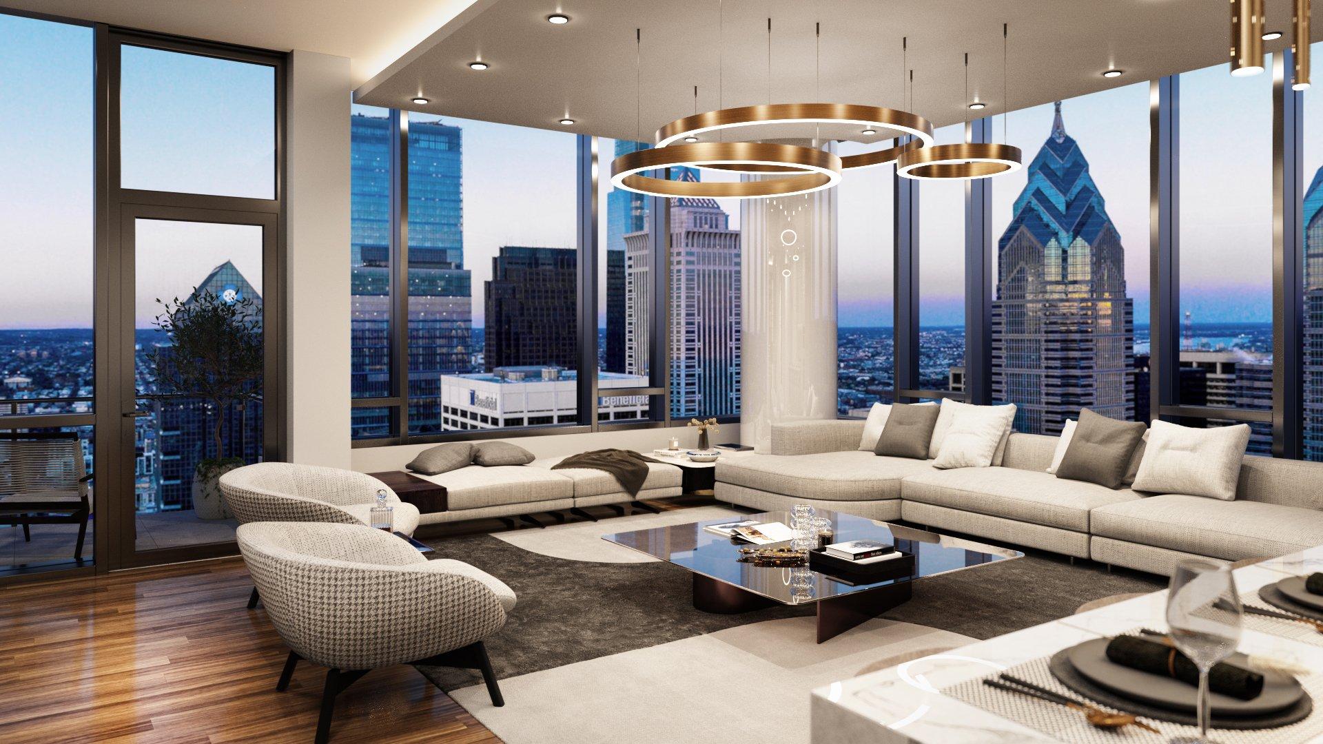 The Laurel Penthouse interior rendering