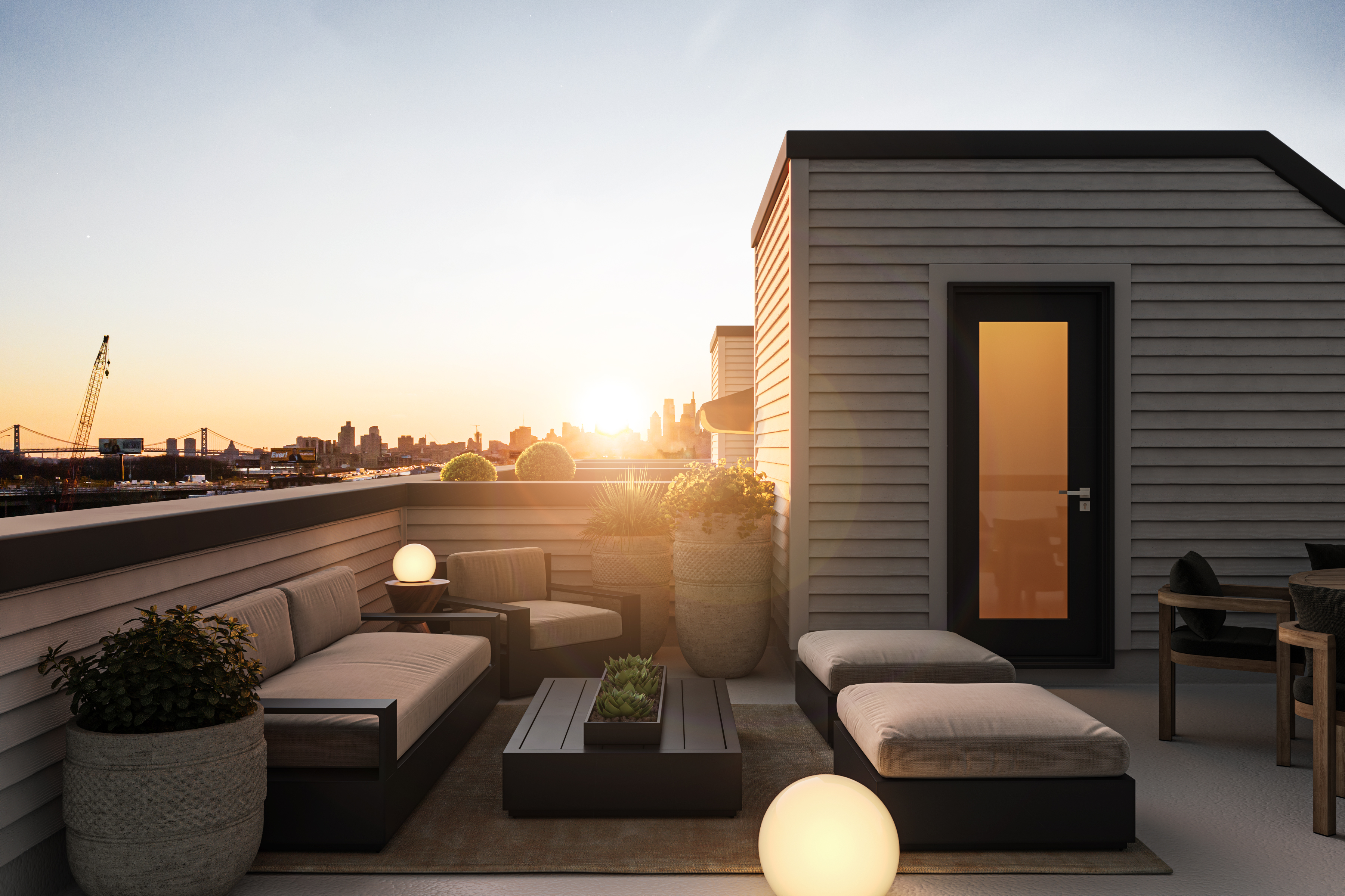 A photorealistic rendering of a roof deck