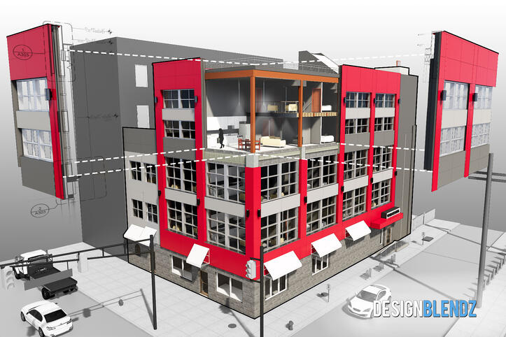 Architectural 3D rendering of Santucci's on N. Broad St. in Philadelphia, PA