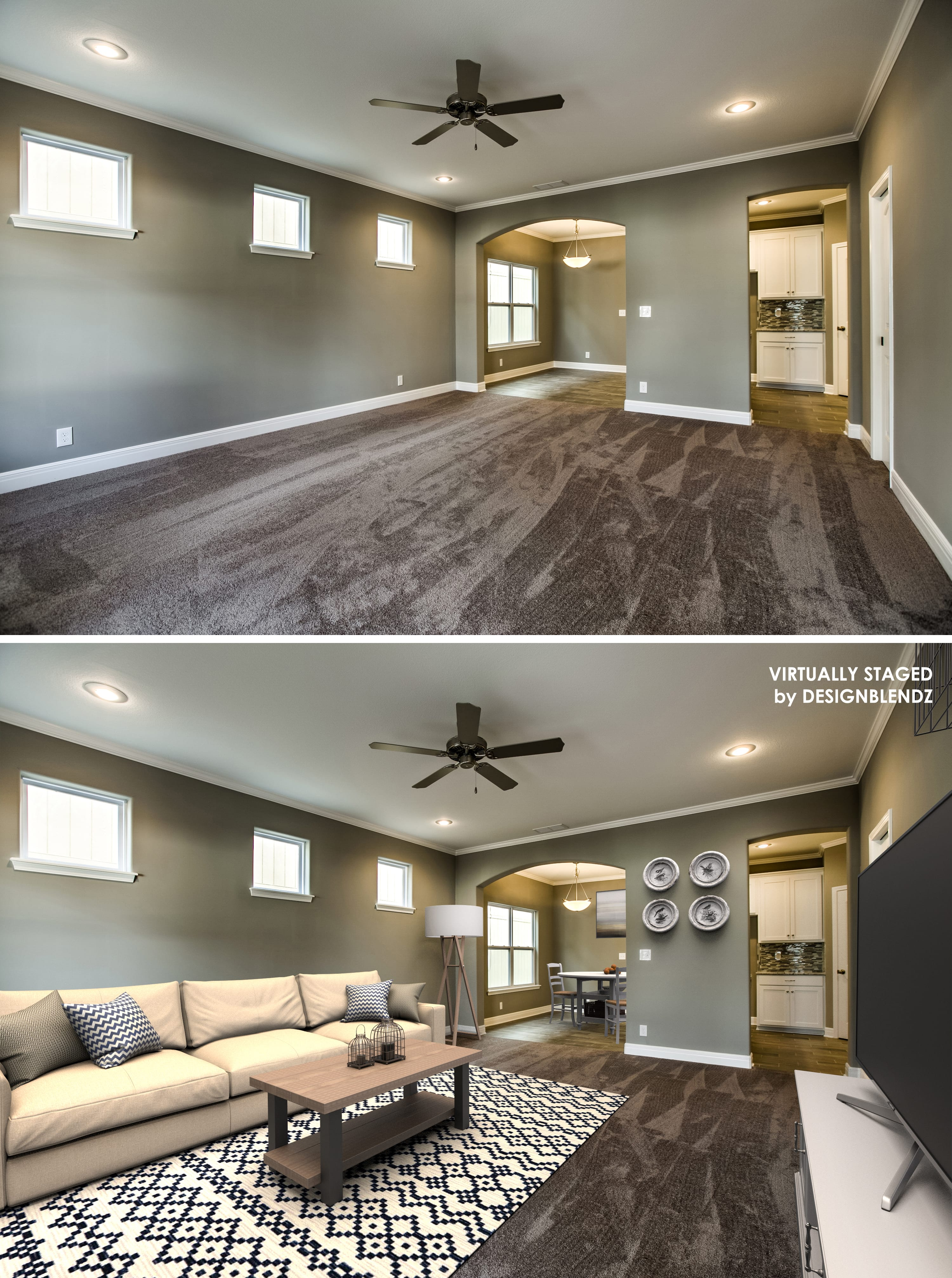 Before and after family room virtual staging sample