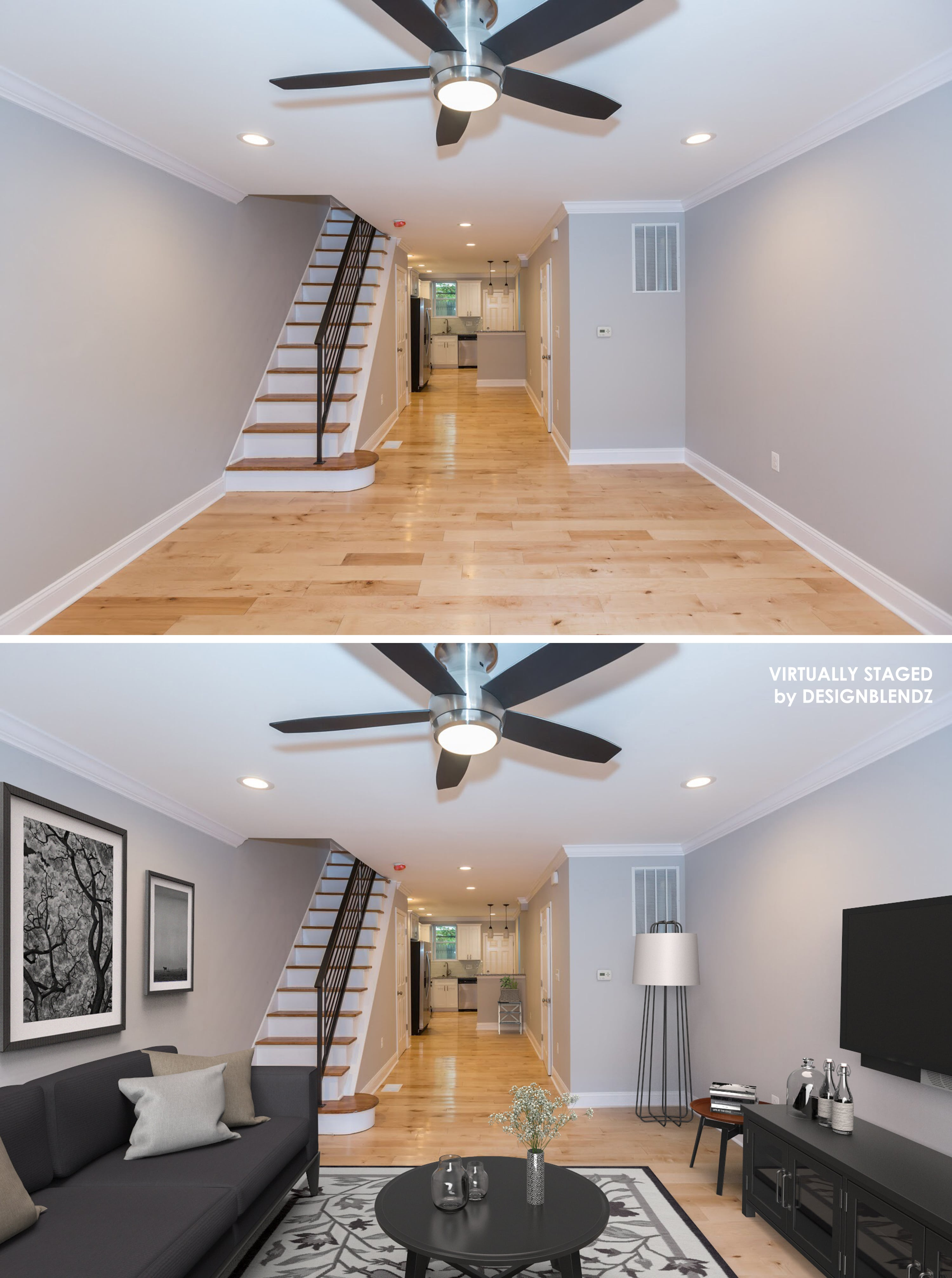 Family room virtual staging example