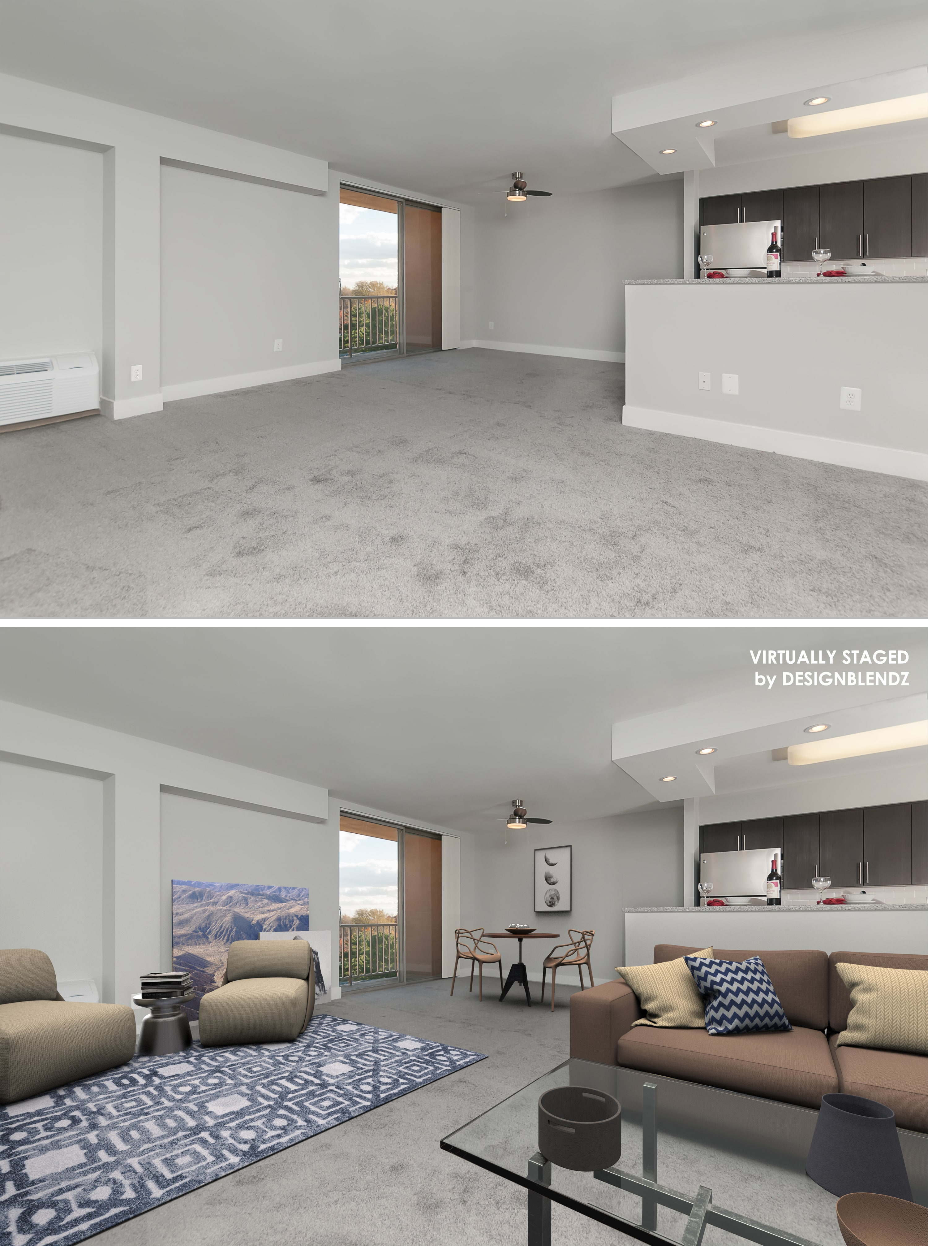 Family room example of virtual staging
