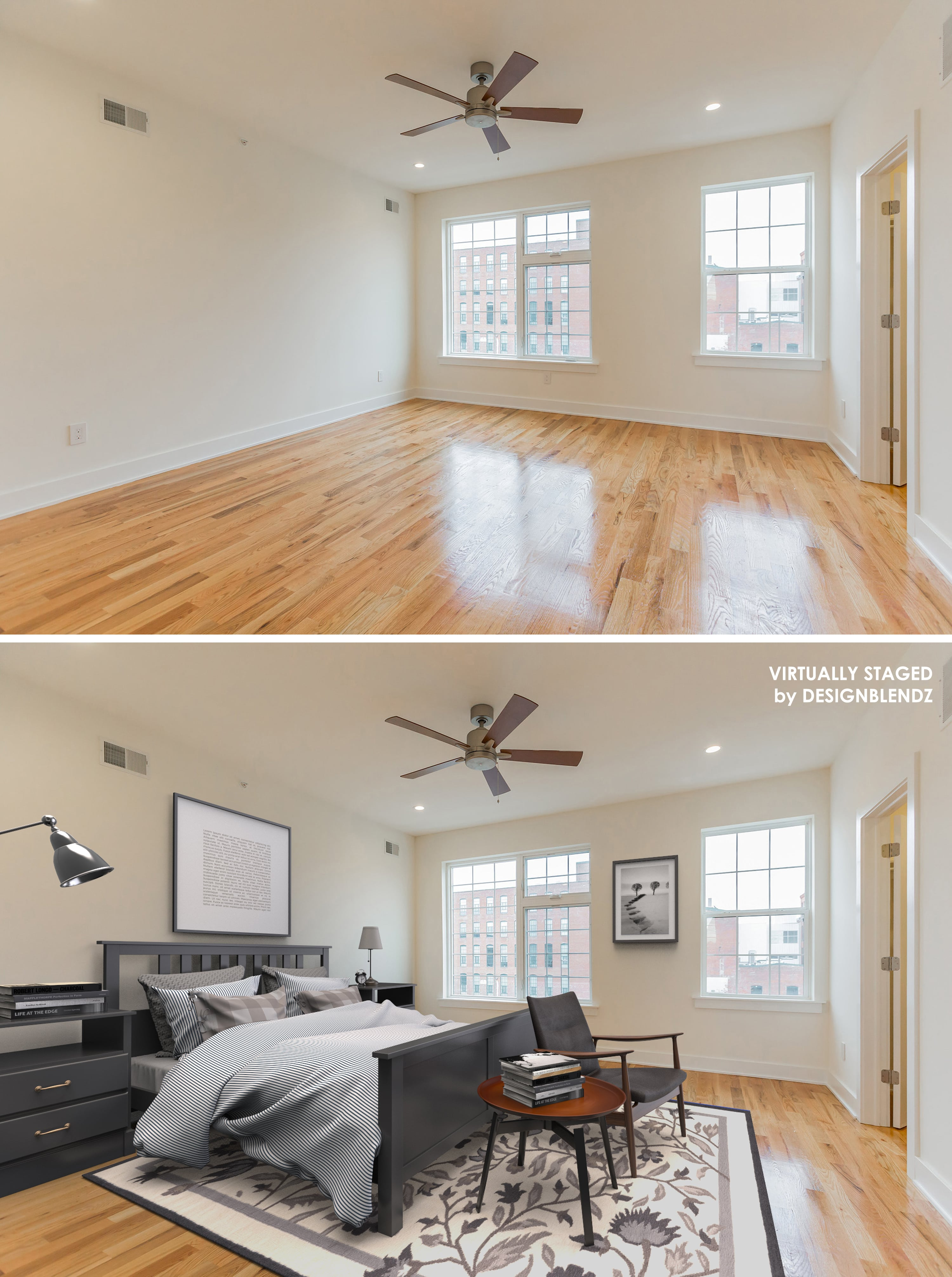 Master bedroom virtual staging example