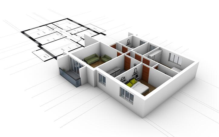 Interior 3D rendering of a residential property
