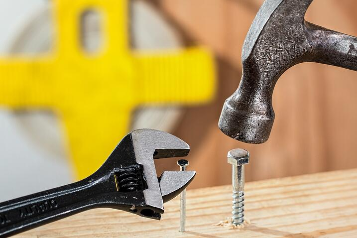 Hammer screw and wrench photo