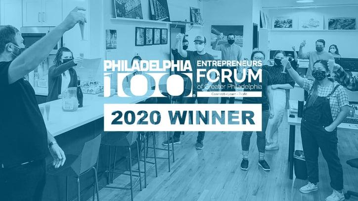 The Designblendz team toasts to their Philadelphia100 award win