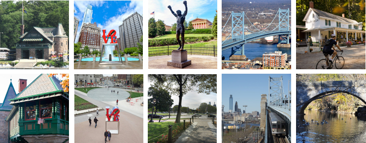 Reference photos for Boathouse Row, Love Park, the Rocky Statue, Ben Franklin Bridge, and Valley Green Inn