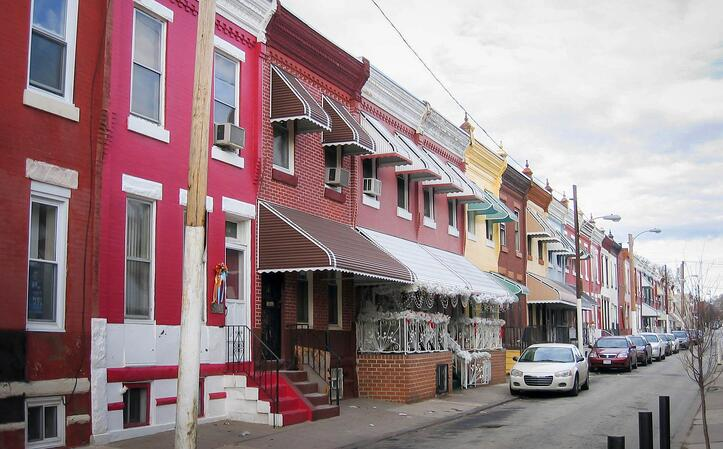 Strawberry Mansion row homes. Photo by Eli Pousson