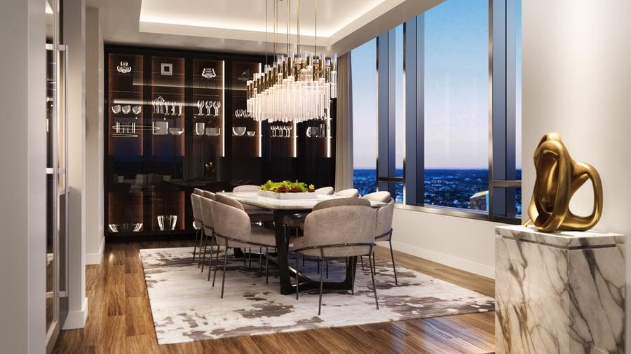 The Laurel Rittenhouse_Interior Still Rendering_City View Dining Room