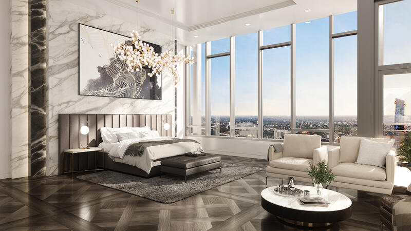 The Laurel Rittenhouse_Interior Still Rendering_Penthouse Bedroom