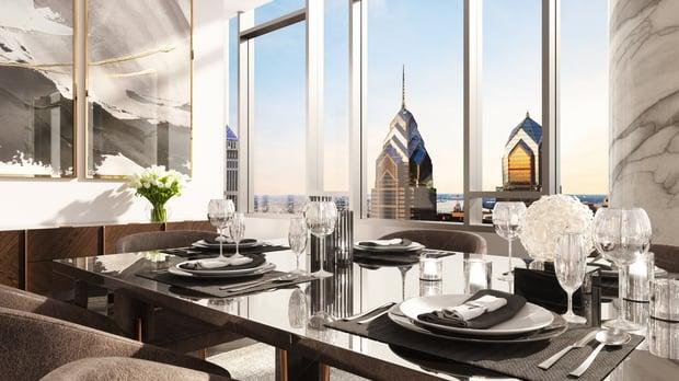 The Laurel Rittenhouse_Interior Still Rendering_Penthouse Dining Moment