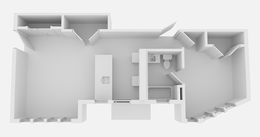 step 1-empty 3d floor plan