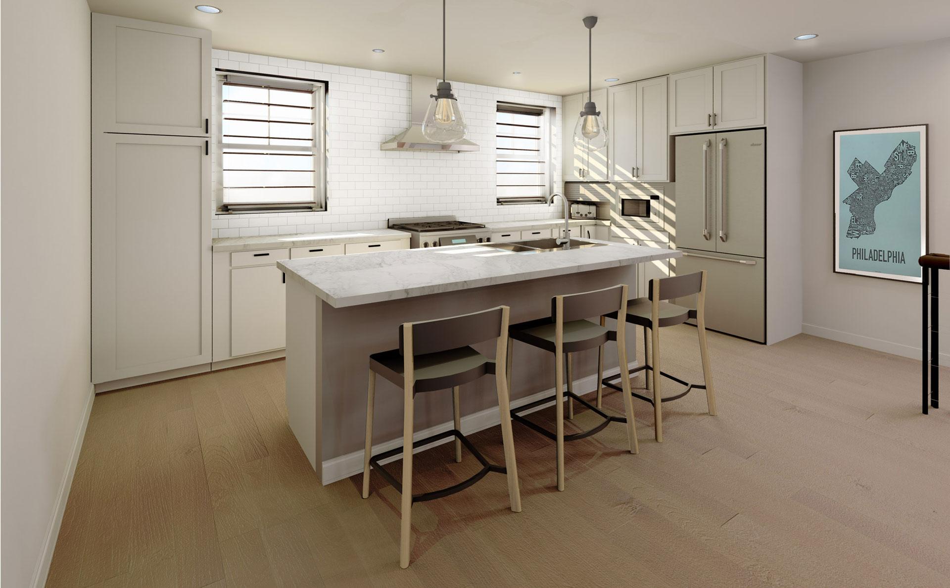New construction single family home kitchen design Philadelphia