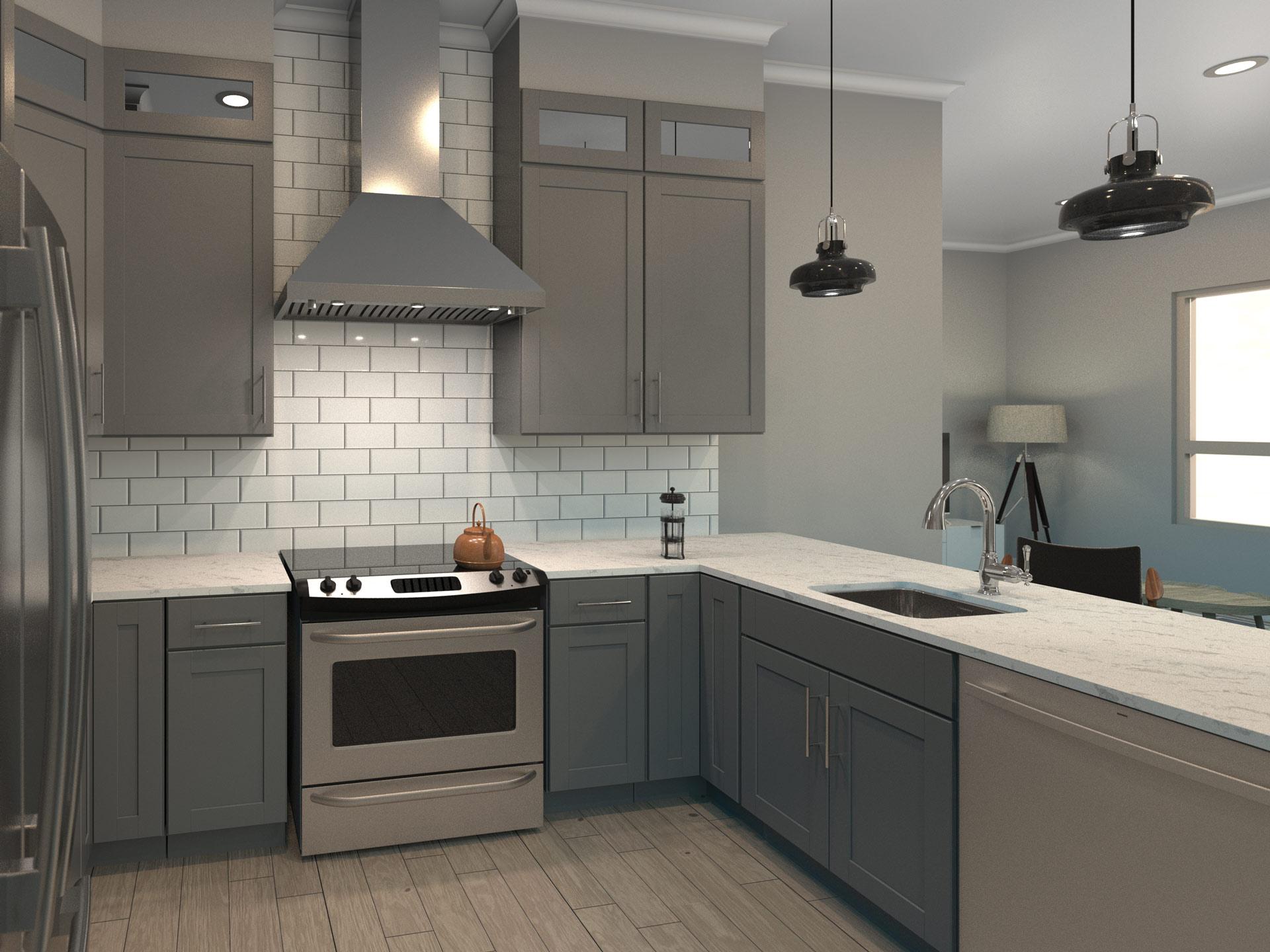 New construction apartment building design kitchen