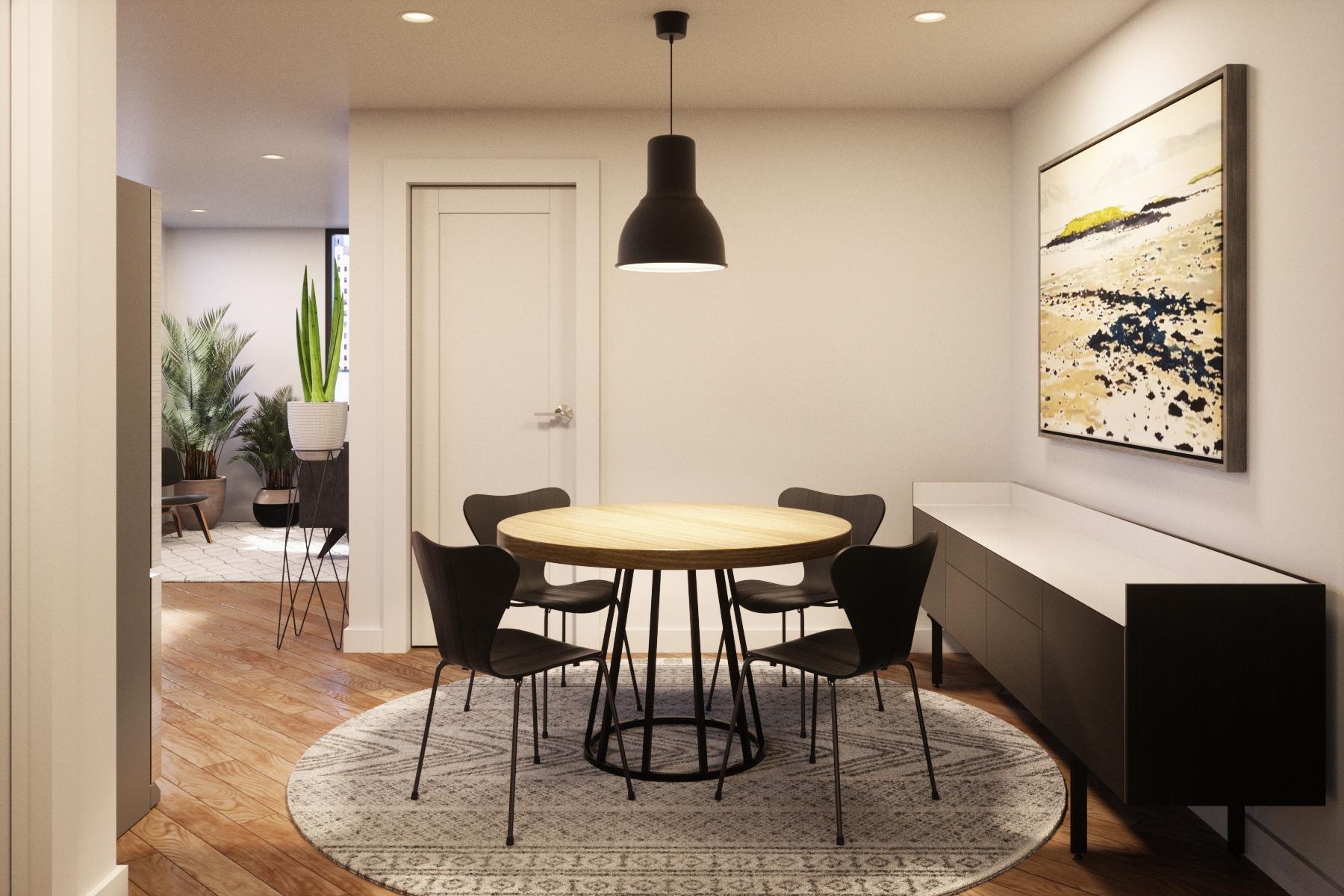 Interior design rendering of a dining room