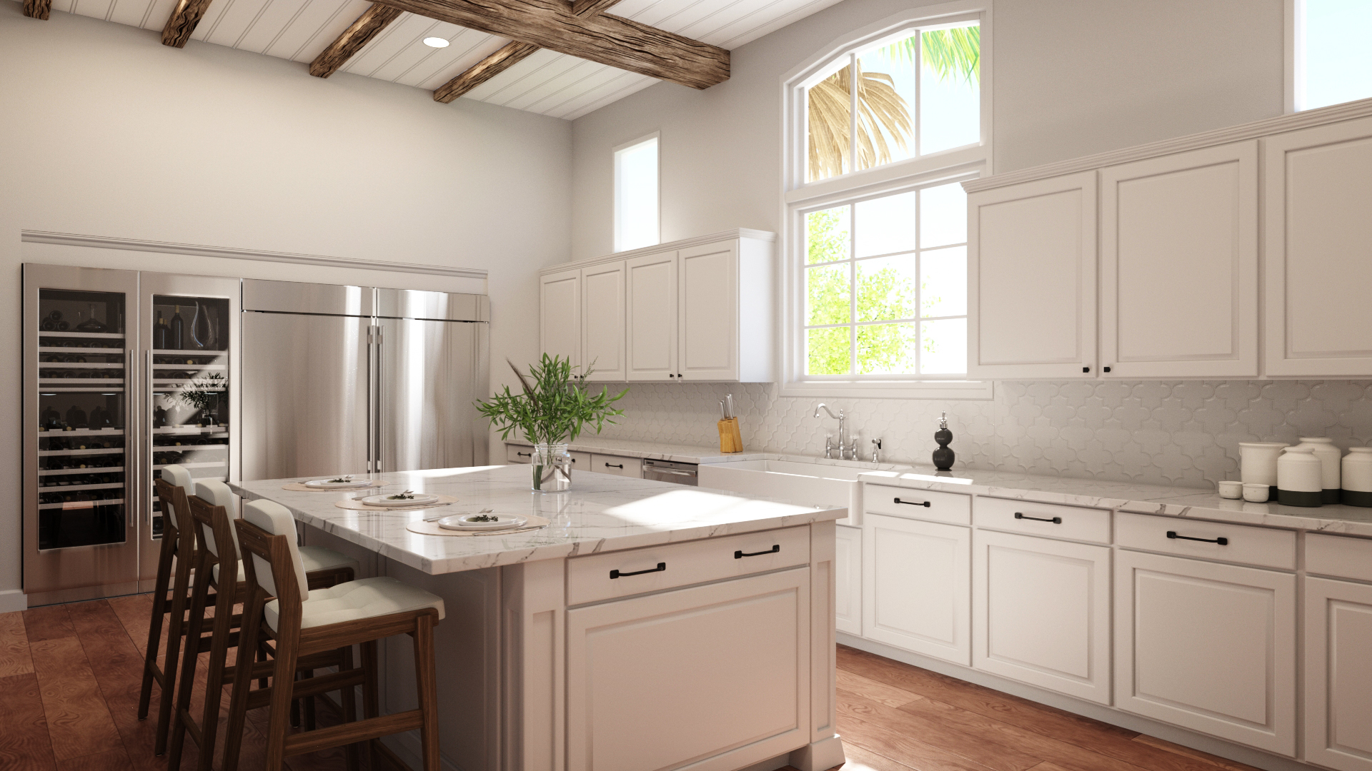 3D rendering of a new kitchen design