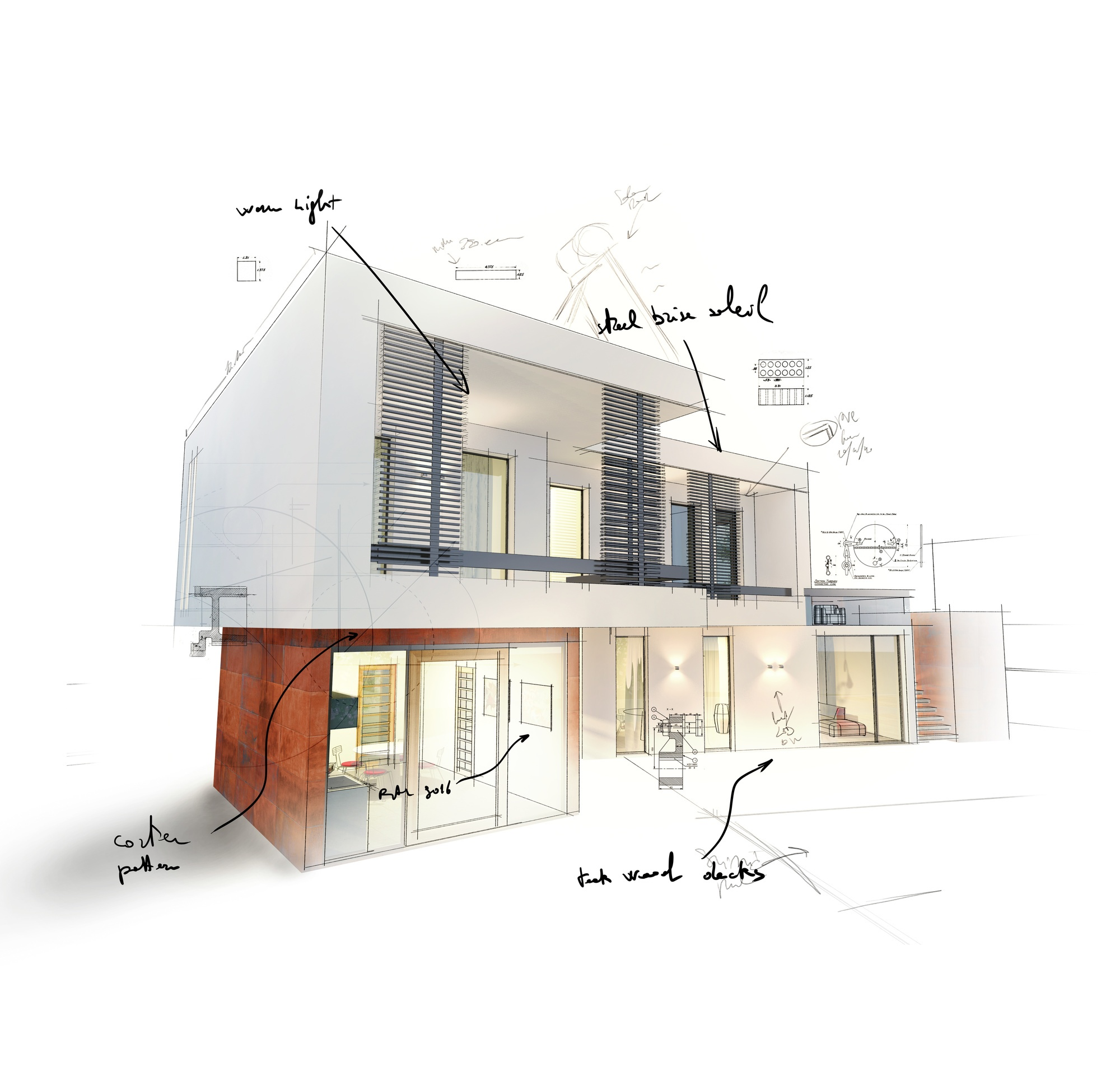 Sketch of a new home architecture project