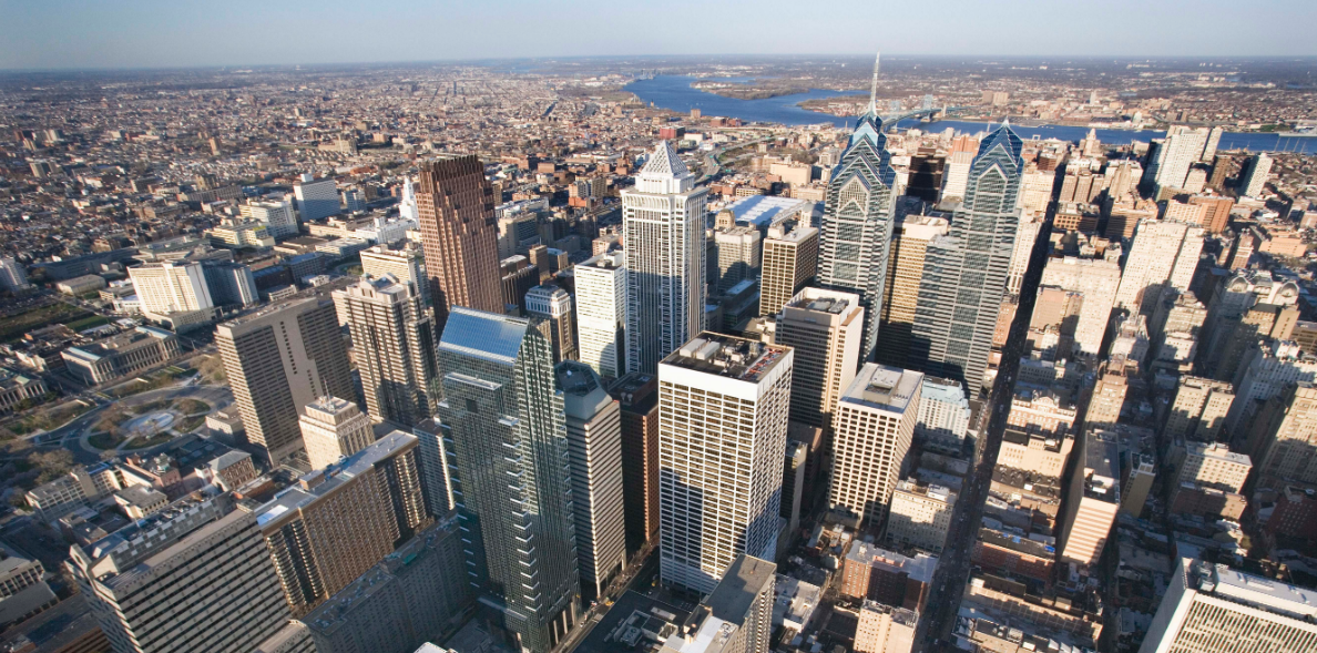 Philadelphia aerial view in the daytime