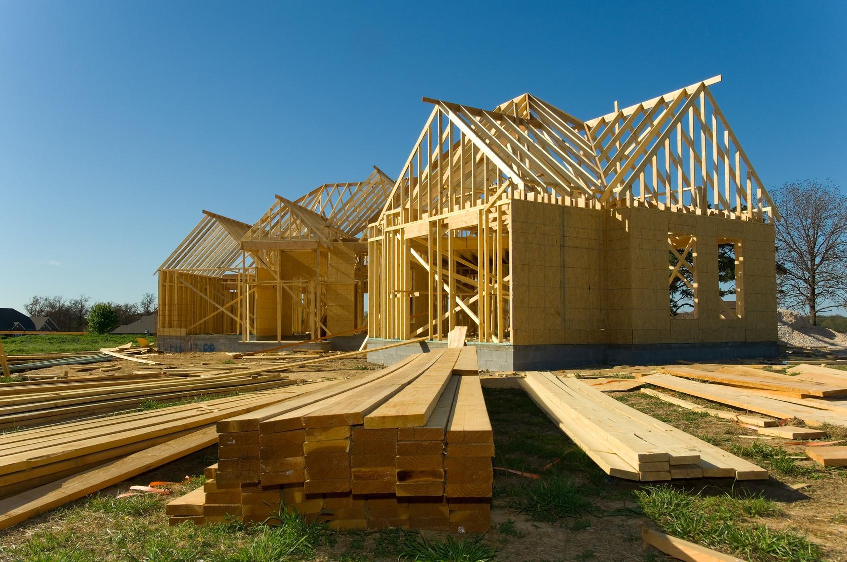 A residential development is framed