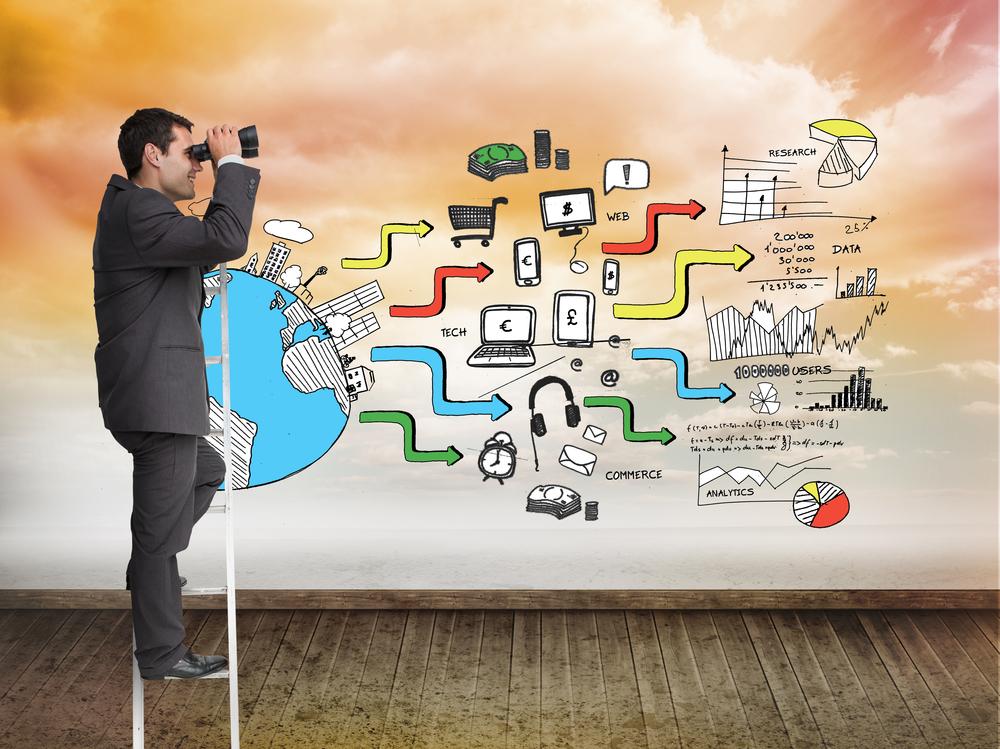 Composite image of businessman standing on ladder holding binoculars